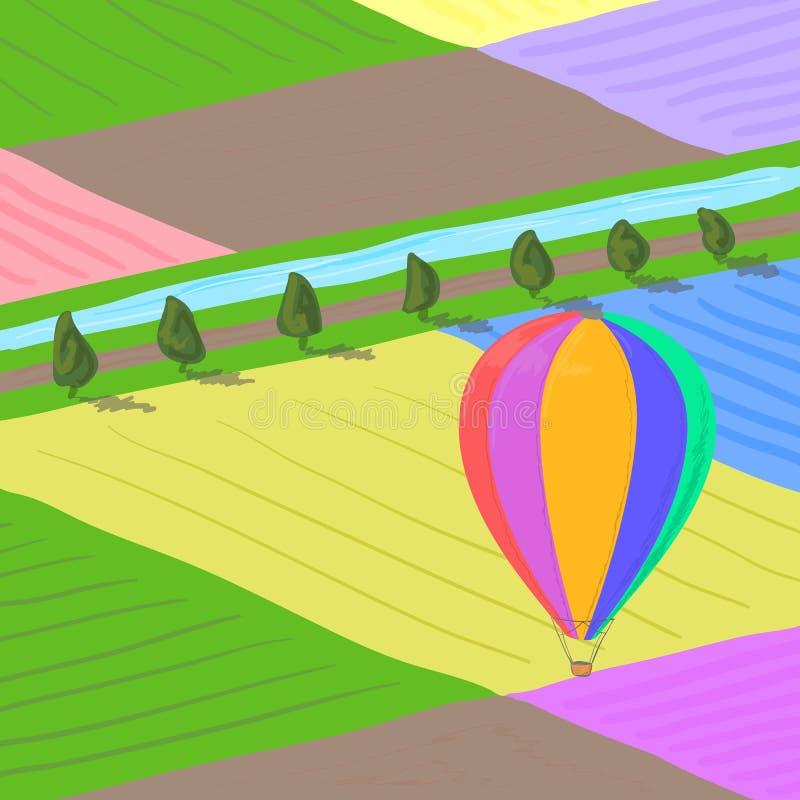 El globo del aire caliente que vuela sobre campos de flor coloreados multi ajardina, da el ejemplo exhausto del vector eps10 stock de ilustración