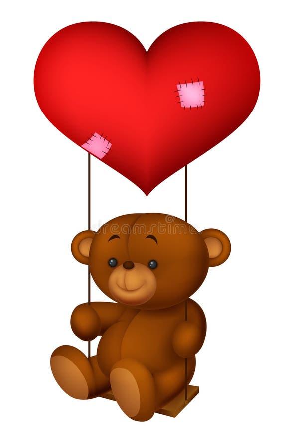 El globo formado leyó el corazón poco oscilación de la historieta del oso ilustración del vector