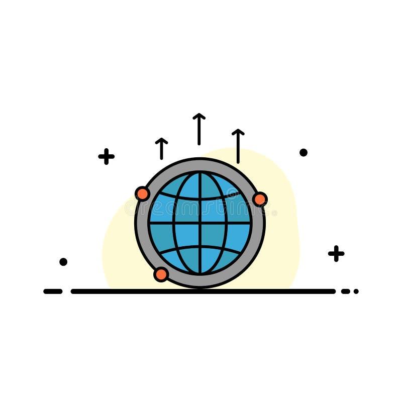 El globo, negocio, comunicación, conexión, global, línea plana del comercio mundial llenó la plantilla de la bandera del vector d stock de ilustración
