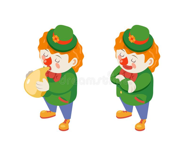 El globo que sopla al payaso isométrico del carnaval de la diversión del partido del circo divertido explota el carácter del func ilustración del vector