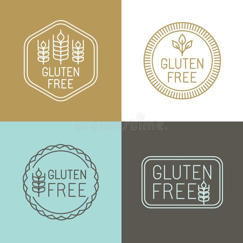 El gluten del vector libera insignias stock de ilustración