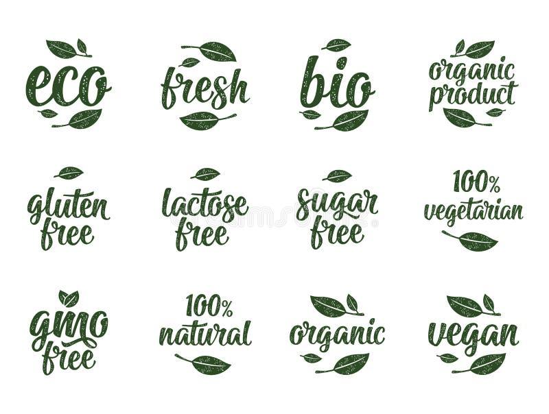 El gluten, lactosa, azúcar, Gmo libera, bio, eco, letras caligráficas frescas de la escritura con la hoja, cubo, descenso Vintage ilustración del vector