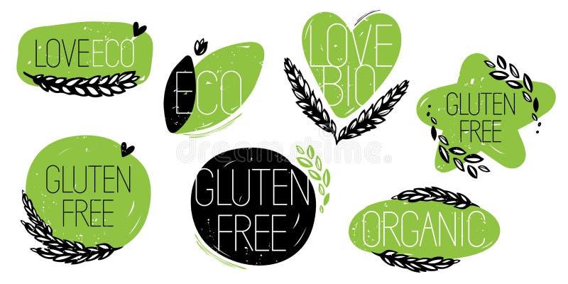 El gluten libera, orgánico, amor bio, iconos del eco stock de ilustración