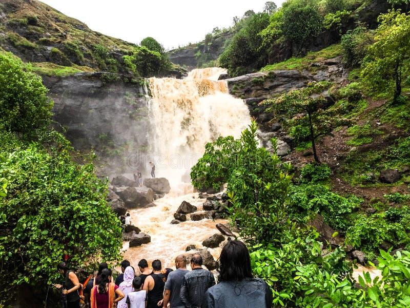 El goce de la gente hermoso salpica de la cascada foto de archivo