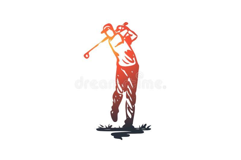 El golf, entrenamiento, se relaja, afición, concepto del deporte Vector aislado dibujado mano ilustración del vector