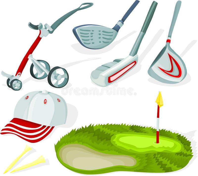 El golf fijó 02 stock de ilustración