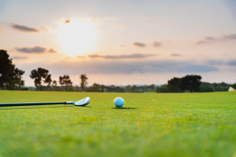 El golfista est? poniendo la pelota de golf en hierba verde en el campo de golf para que el entrenamiento agujeree con el fondo a foto de archivo