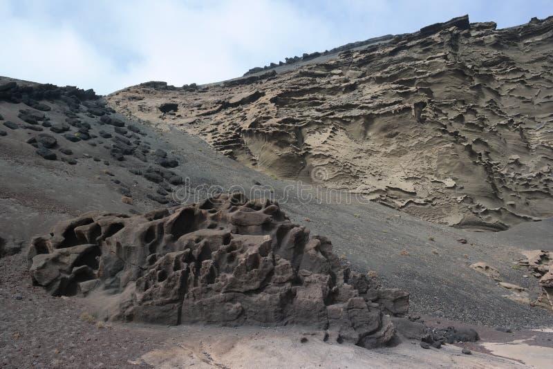 El golfo峭壁,兰萨罗特岛,卡纳里亚海岛 免版税库存照片