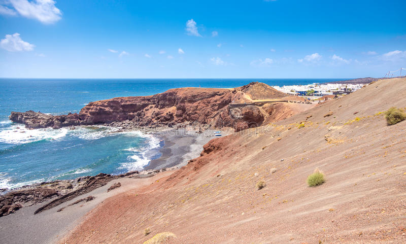 El Golfo - пляж и деревня стоковое фото