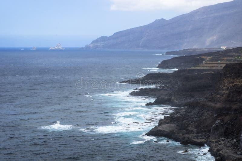El Golfo Cliffs. El Golfo sea and cliffs, El Hierro stock photography