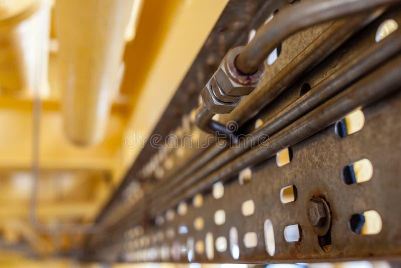 EL GOLFO DE TAILANDIA, OCTUBRE 6,2017: Tubo de Swagelok del acero inoxidable fotografía de archivo