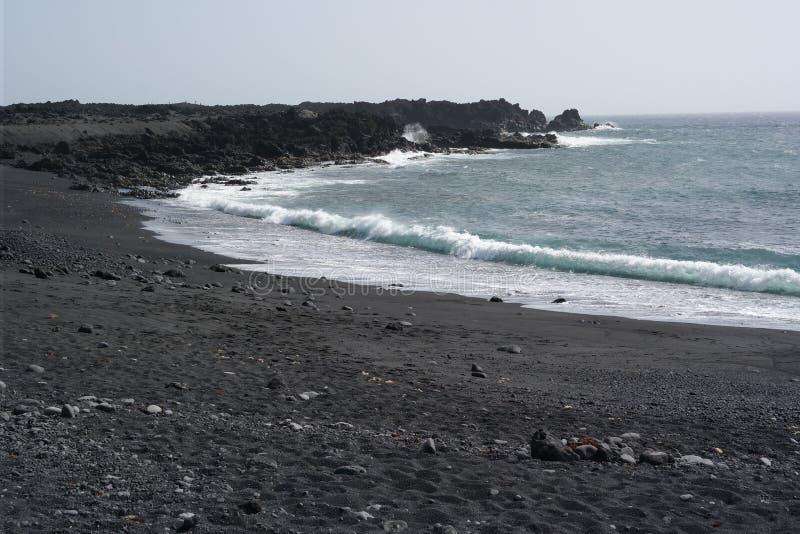 El golfo denny brzeg, Lanzarote, Canaria wyspy obraz stock