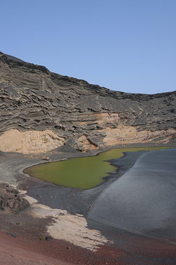El golfo jezioro, Lanzarote, Canaria wyspy zdjęcia stock