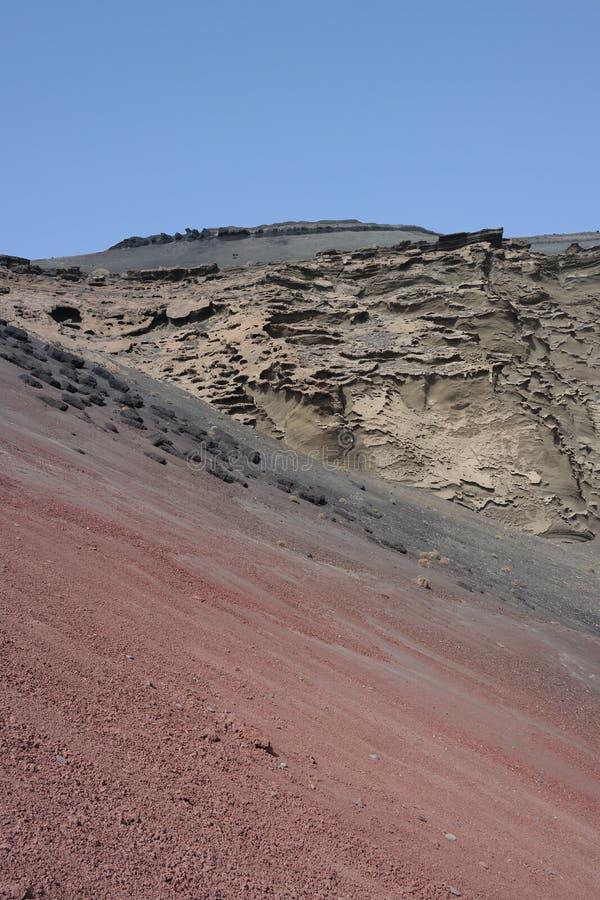 EL-golfo Klippen, Lanzarote, Canaria-Inseln lizenzfreie stockfotos