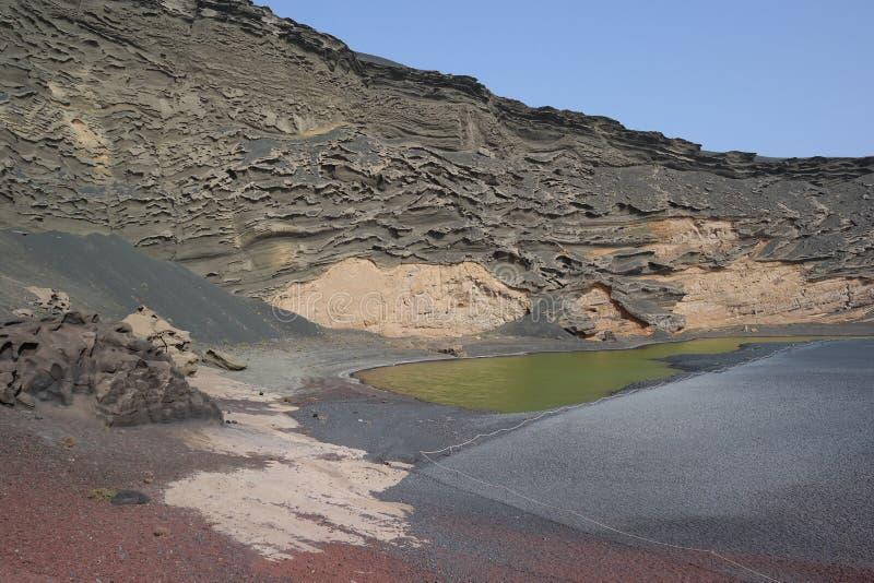 El golfo lake, lanzarote, canaria islands stock photos