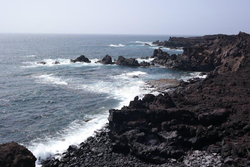 EL-golfo Seeufer, Lanzarote, Canaria-Inseln lizenzfreie stockbilder
