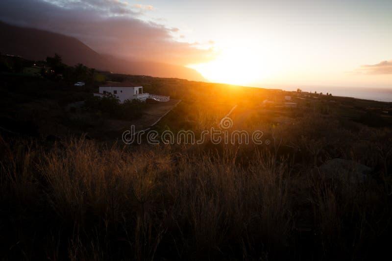 El golfo sunset. Sunset in El Golfo valley, El Hierro stock photo