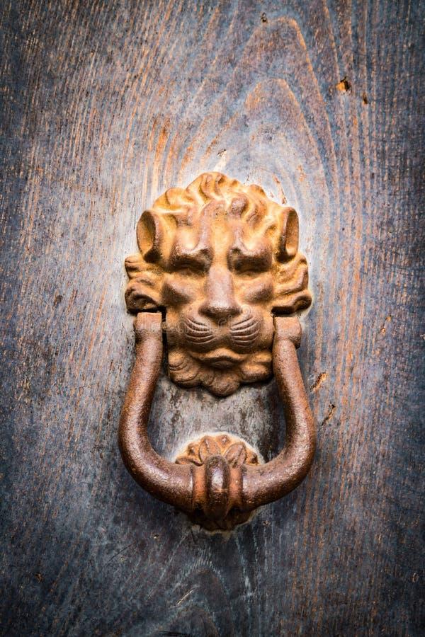 El golpeador de puerta antiguo formó la cabeza de oro del ` s del león imágenes de archivo libres de regalías