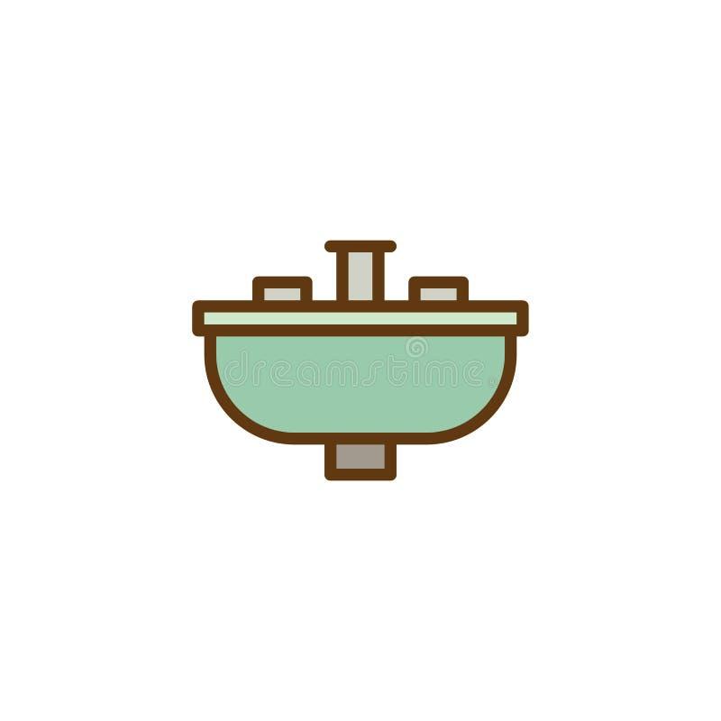 El golpecito de mezclador del lavabo del cuarto de baño llenó el icono del esquema libre illustration