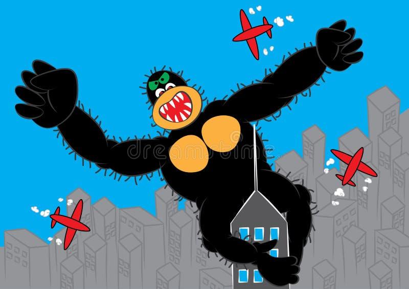 El gorila más grande en el concepto del negocio del cielo stock de ilustración