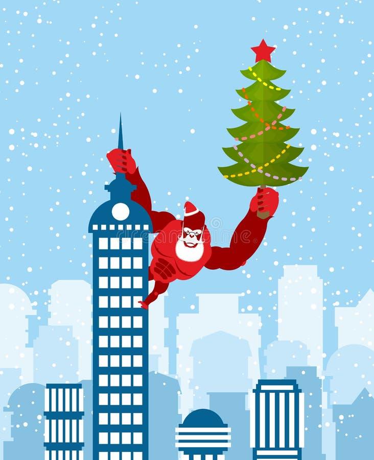 El gorila rojo grande vestido como Santa Claus sube el edificio con stock de ilustración