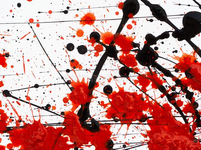 El goteo del aceite combustible que fluye de la pintura negra y roja salpica, los descensos y rastro ilustración del vector