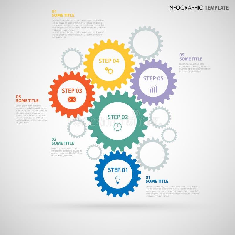 El gráfico abstracto de la información con diseño coloreó la plantilla plana de las ruedas de engranaje ilustración del vector