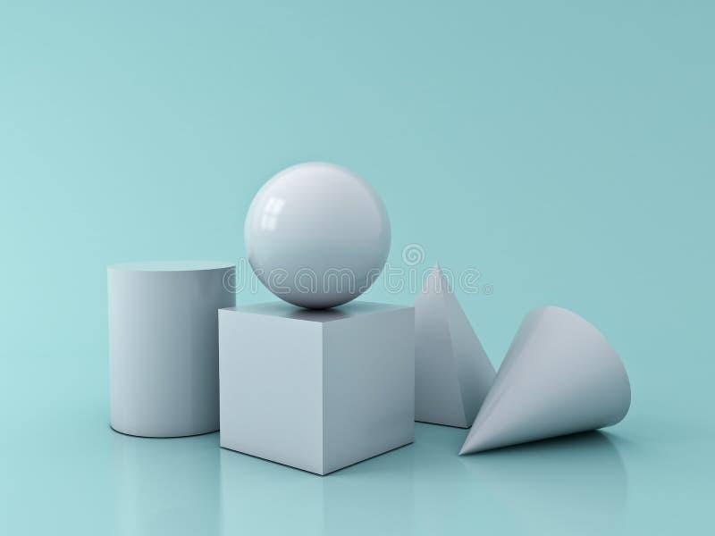 El gráfico blanco de la geometría 3D forma la esfera del cilindro del cono de la pirámide del cubo aislada en fondo del color en  stock de ilustración