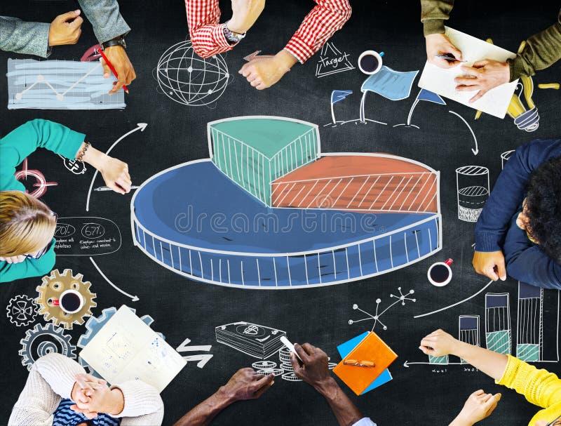 El gráfico comparte concepto del negocio de la investigación de los ingresos de ventas fotografía de archivo