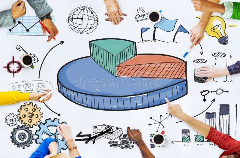 El gráfico comparte concepto del negocio de la investigación de los ingresos de ventas foto de archivo