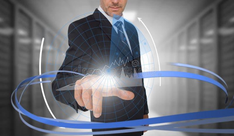 El gráfico conmovedor del hombre de negocios en interfaz futurista con remolinar alinea ilustración del vector