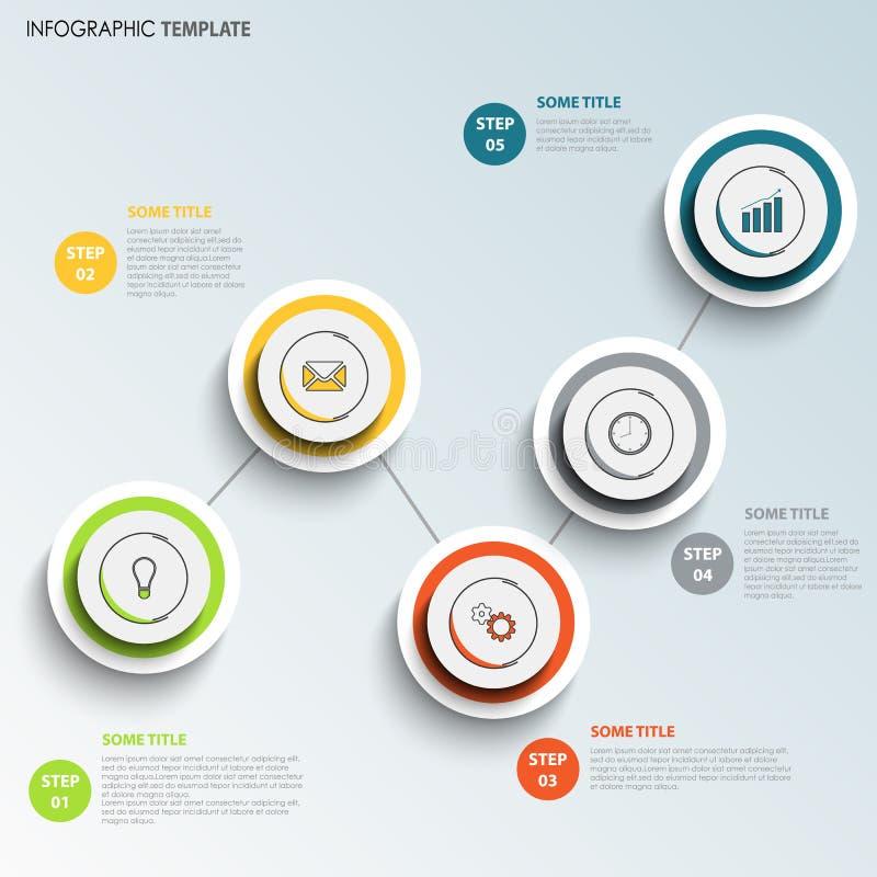 El gráfico de la información con diseño coloreado redondo señala la plantilla ilustración del vector