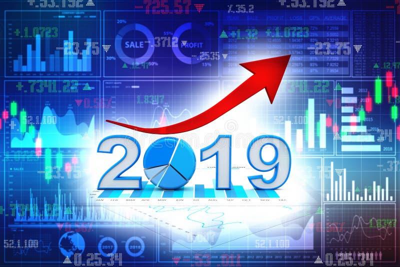 El gráfico de negocio con la flecha para arriba y el símbolo 2019, representa crecimiento en el Año Nuevo 2019 3d rinden libre illustration
