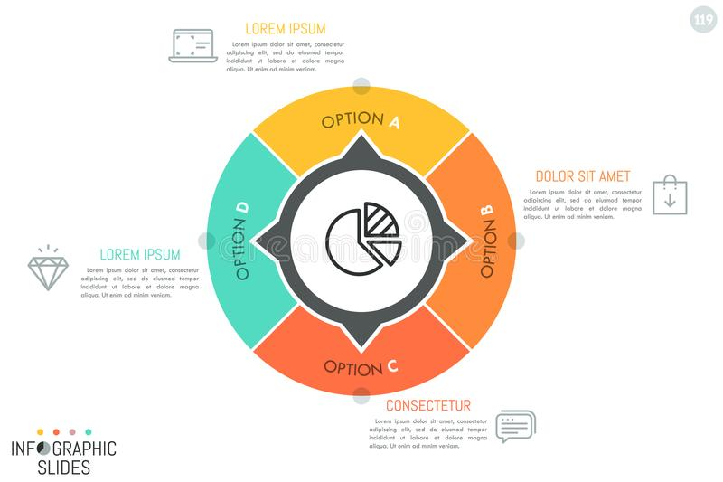 El gráfico de sectores circular dividió en 4 sectores libre illustration