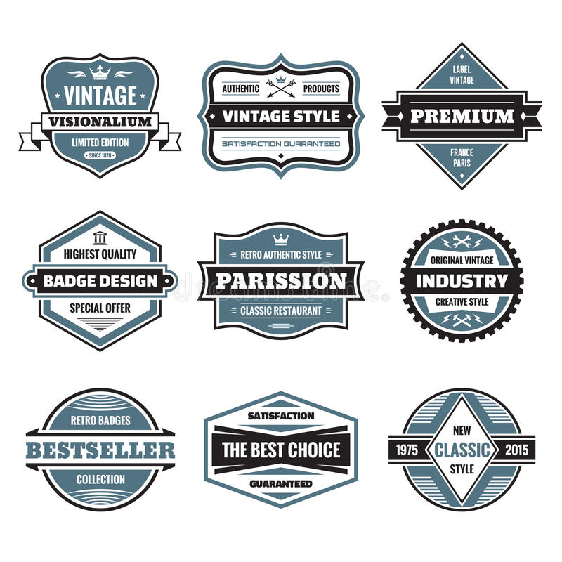 El gráfico de vector badges la colección Insignias originales del vintage libre illustration