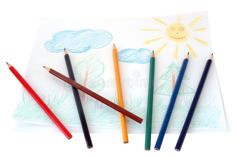El dibujo del niño. foto de archivo libre de regalías