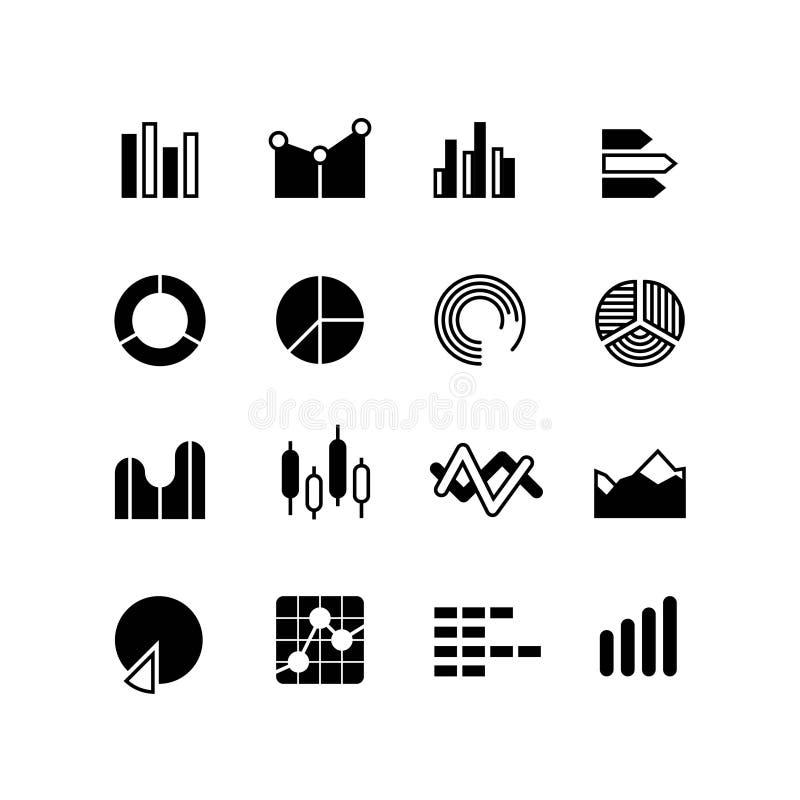 El gráfico, gráfico, barra de los datos del stats, cartas infographic, analiza iconos del vector del diagrama stock de ilustración
