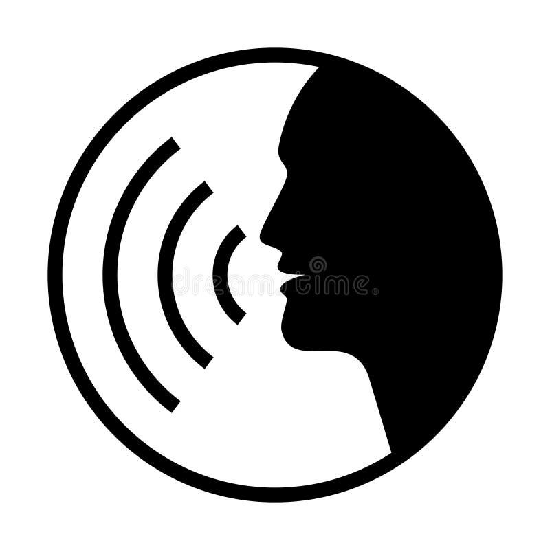 El gr?fico humano de la voz firma en el c?rculo stock de ilustración