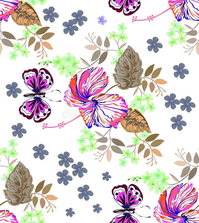 El gráfico inconsútil, hibisco florece y mariposa en estilos abstractos en el fondo blanco, ejemplo del vector stock de ilustración