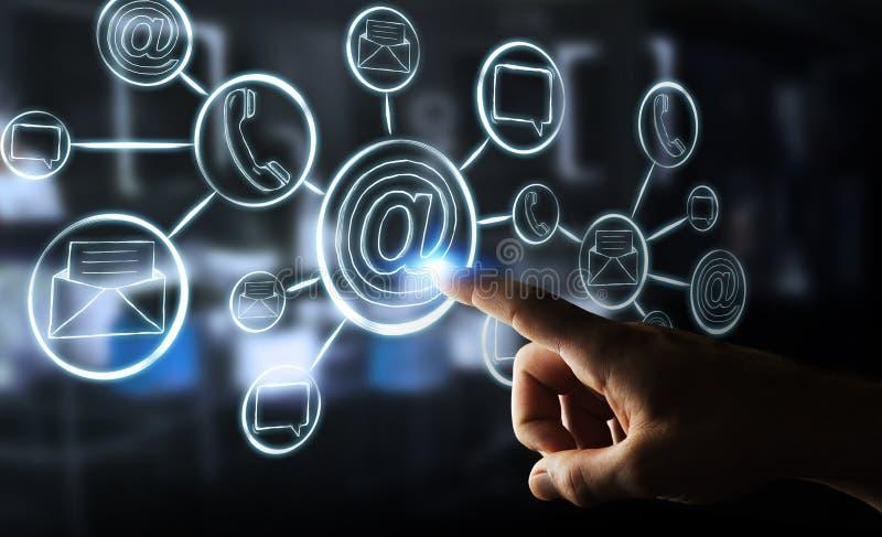 El gráfico a mano conmovedor de la empresaria con el contacto y conecta stock de ilustración