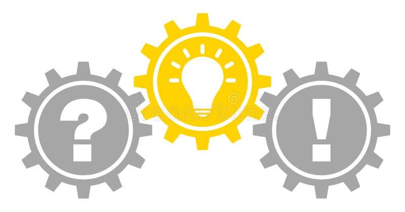 El gráfico tres adapta la idea y la respuesta llenadas Gray Yellow Outline de la pregunta ilustración del vector