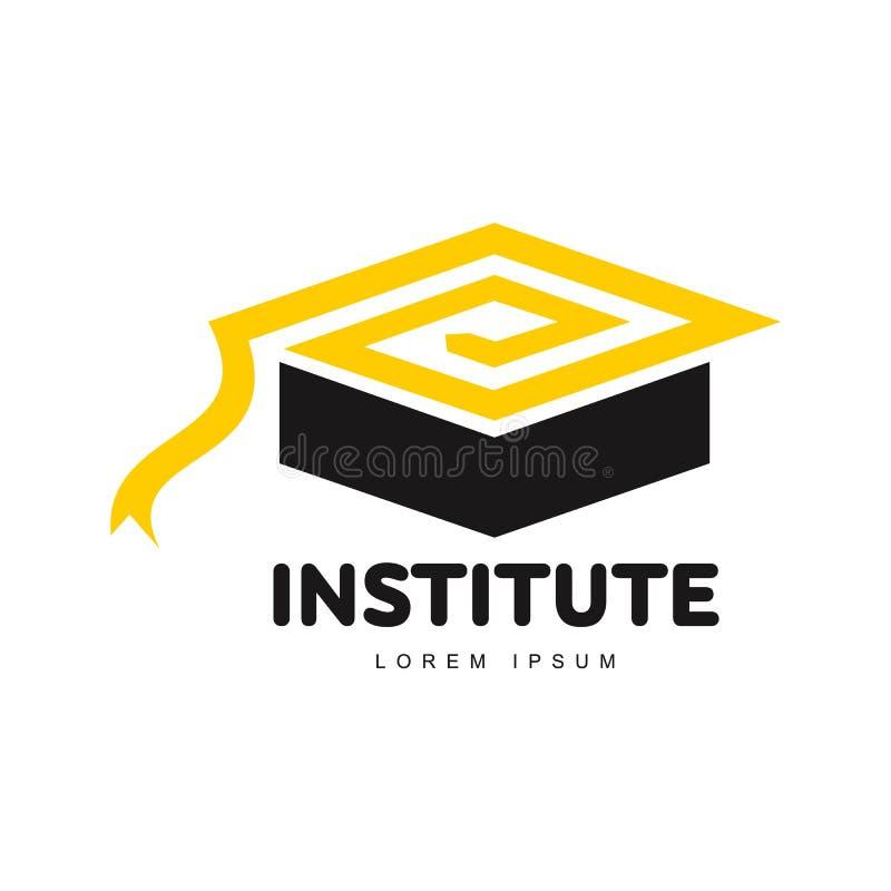 El gráfico tres coloreó al academic cuadrado, plantilla del logotipo del casquillo de la graduación ilustración del vector
