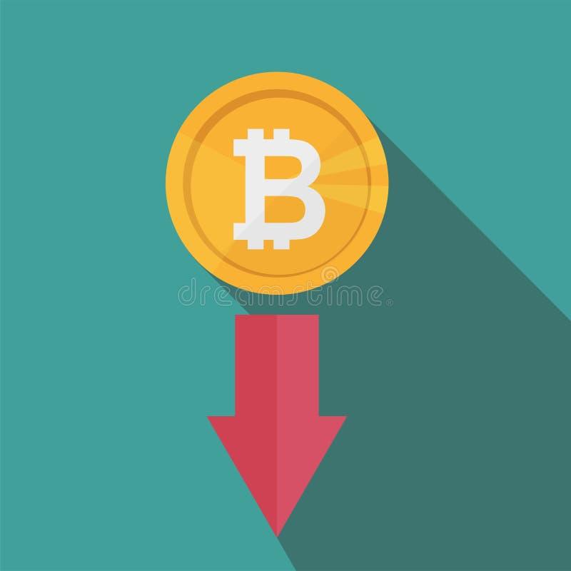 El grado del índice de Bitcoin va abajo en mercado de intercambio Flecha roja stock de ilustración