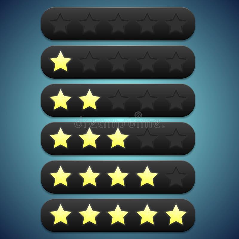 El grado negro de la barra de herramientas, estrellas ahueca para ellos ilustración del vector