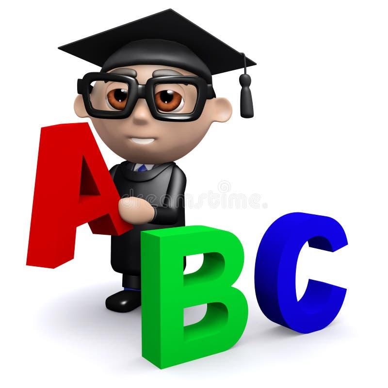 Download El Graduado 3d Enseña Al Alfabeto Stock de ilustración - Ilustración de realización, diploma: 41920704