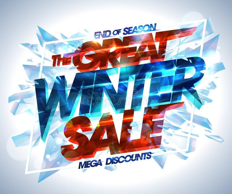 El gran cartel de la venta del invierno, estalló pedazos del hielo, finales de los descuentos mega de la estación ilustración del vector