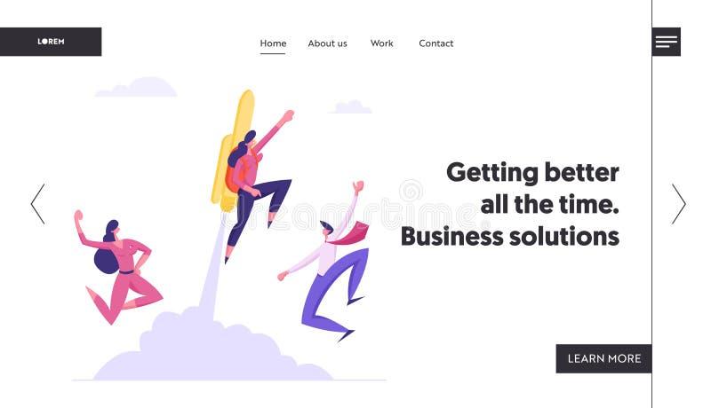 El gran comienzo, alza de la carrera, página rápida del aterrizaje de la página web del crecimiento del negocio, los colegas aleg ilustración del vector