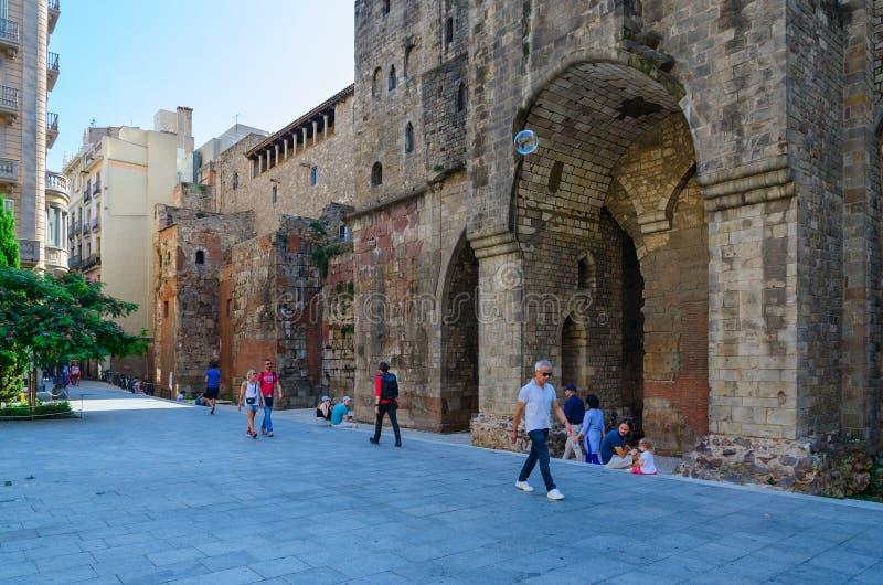 EL Gran, cuarto gótico del chapelin de Agatha del santo, Barcelona, España de Ramon Berenguer Square Placa de Ramon Berenguer imagenes de archivo