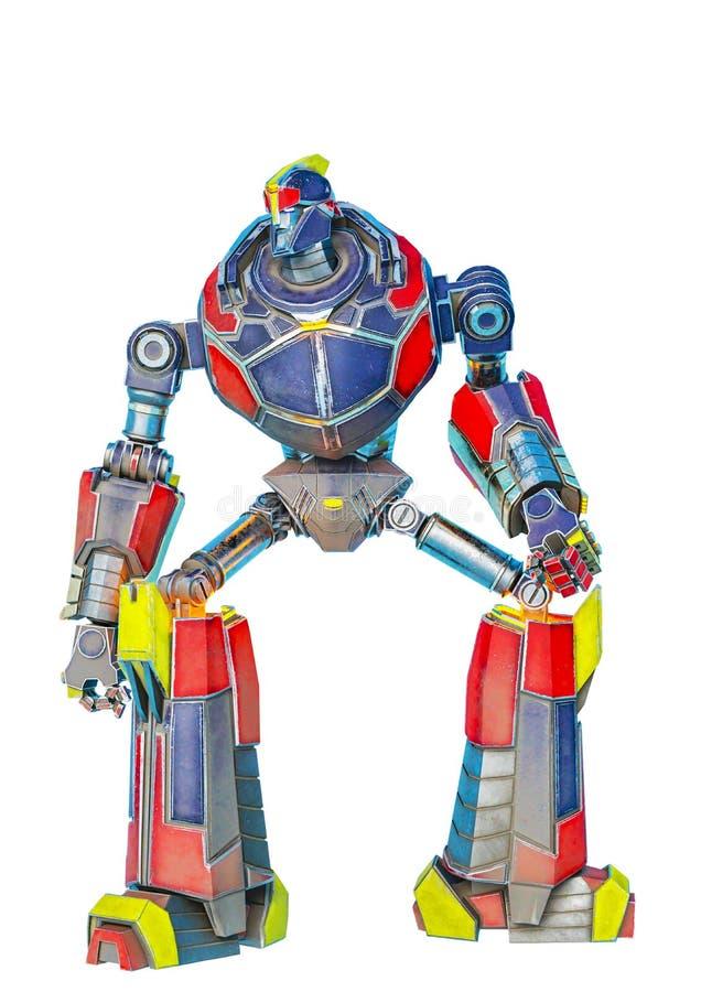 El gran hacer del robot se agacha actitud en un bacground blanco libre illustration