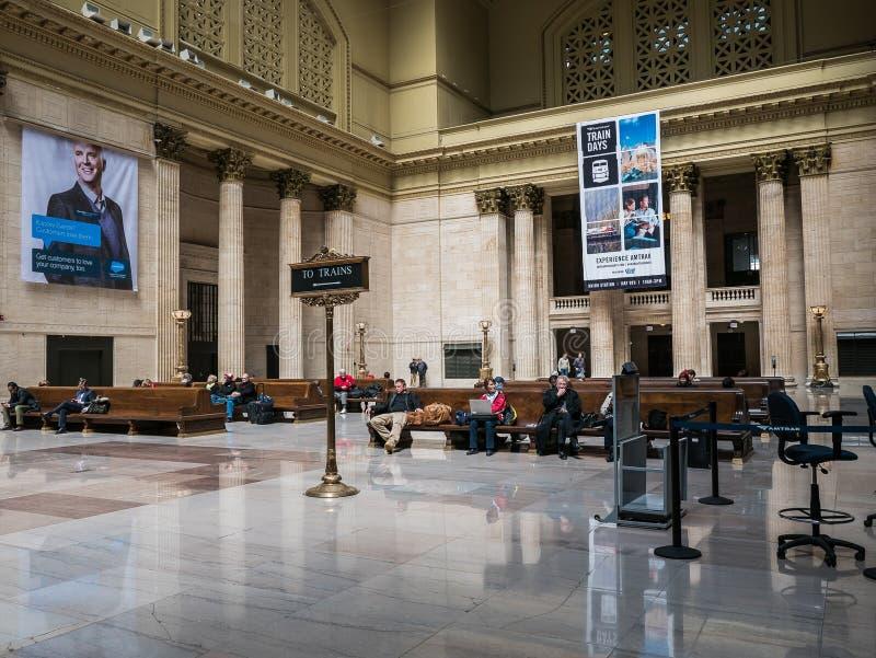El gran pasillo, estación de la unión, Chicago imagen de archivo libre de regalías